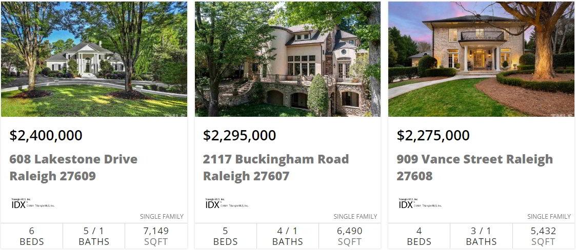 Средняя цена на покупку дома в Роли Северная Каролина